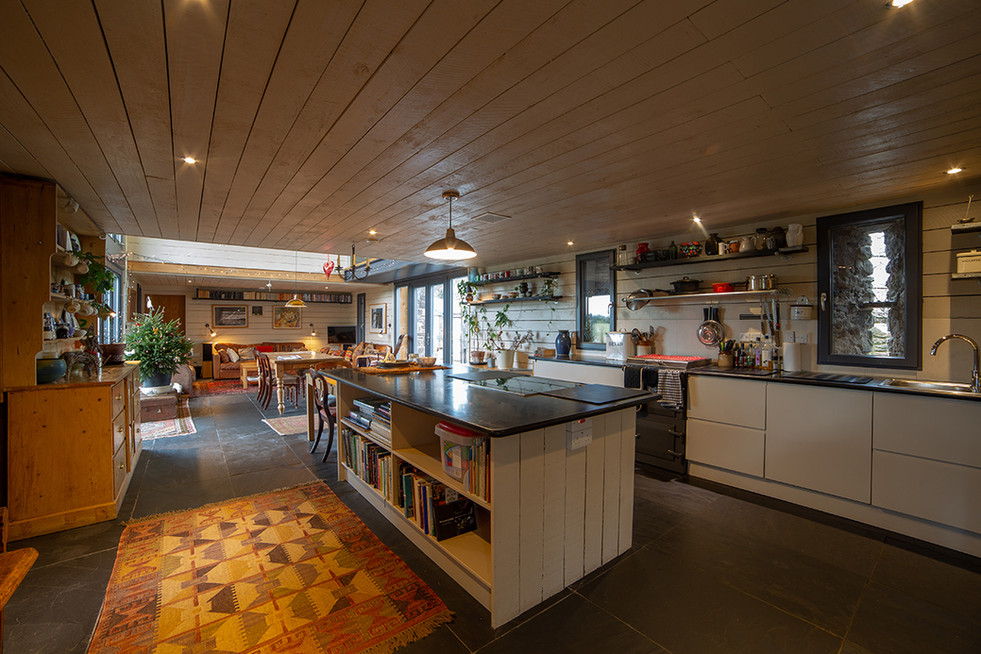 The main barn has a generous open-plan kitchen/dining/living area