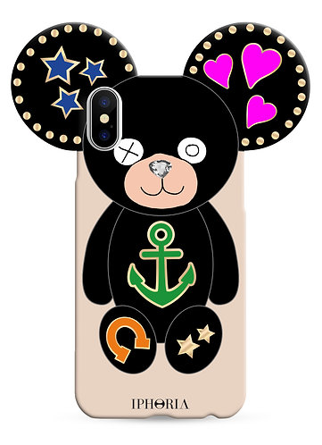 Case with Teddy Black Icons for iPhone X / XS