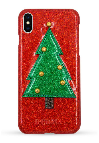 Veggie Leather Case - Christmas Tree Glitter for iPhone X/XS