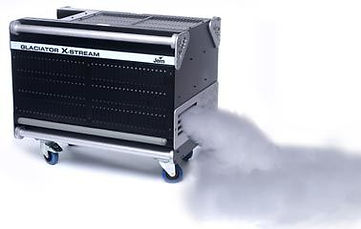 Jem Glaciator X-Stream fog machine creates a thick layer of fog. Available to hire at Colour Sound Experiment warehouse in North London. Ideal for touring (nationwide and worldwide), live shows, live performances including theatre (low noise fan) and art installations.