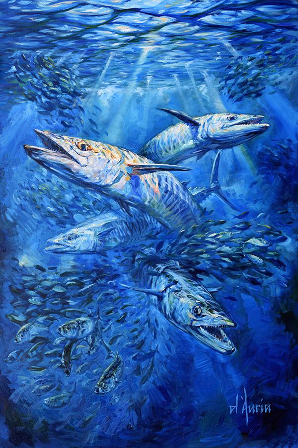 Kingfish-wahoo-dolphin-painting-Columbia