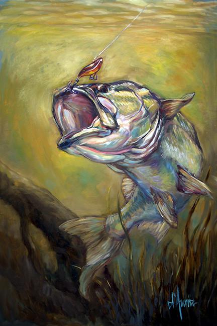 Hooked-largemouth-bass-rapala-lure-fresh