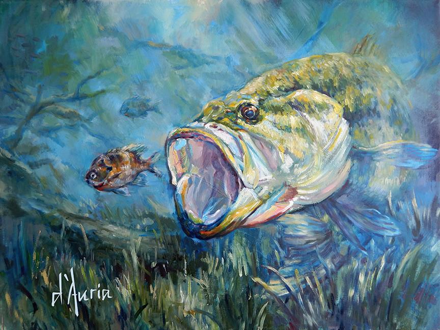 largemouth-bass-bluegill-bream-oil-paint