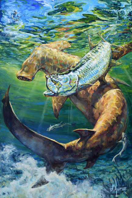 In-Pursuit-tarpon-hammerhead-shark-oil-p
