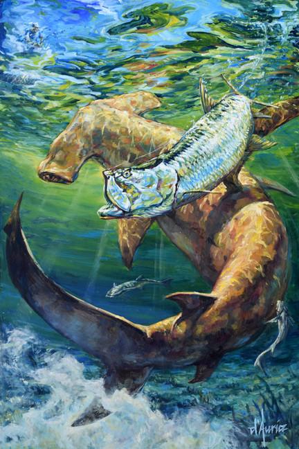 In-Pursuit-tarpon-hammerhead-shark-oil-p