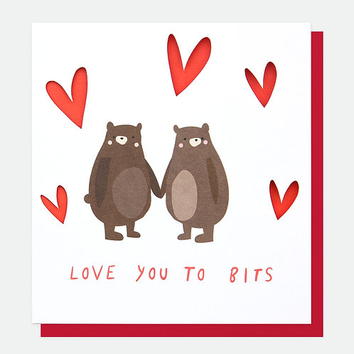 Love you to bits Bear Valentines Card