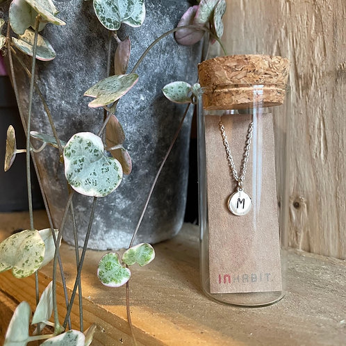 Sterling Silver Disc Initial Pendant