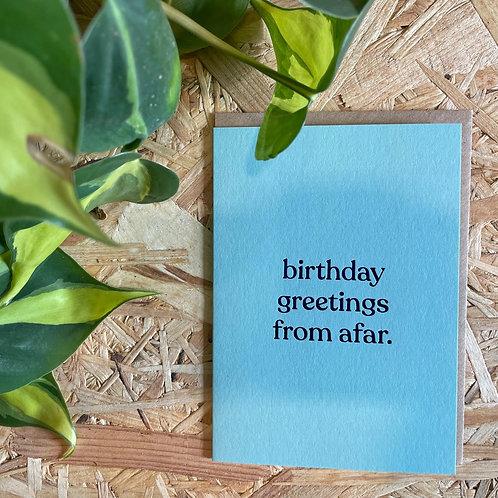 Birthday Greeting From Afar Card