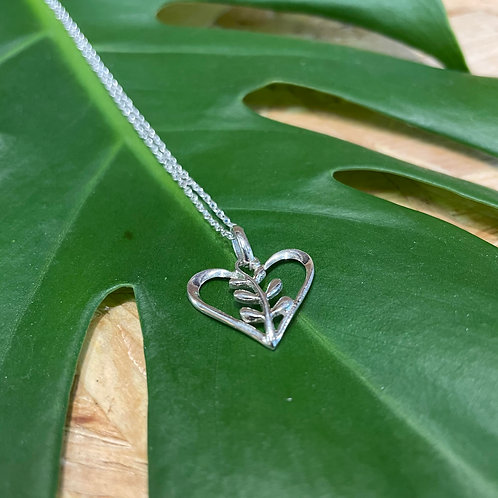 Sterling Silver Heart and leaf Necklace