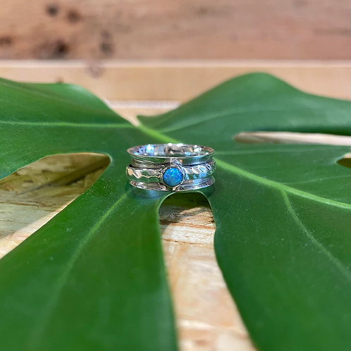Sterling Silver & Opal Spinner Ring