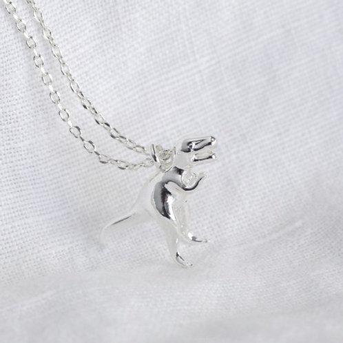 Silver T-Rex Dinosaur Necklace