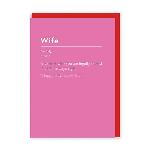 'wife' valentines card