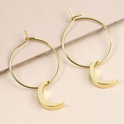 Moon Hoops in Gold