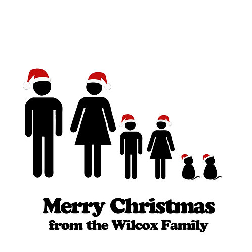 Personalised Christmas Family Portrait Card