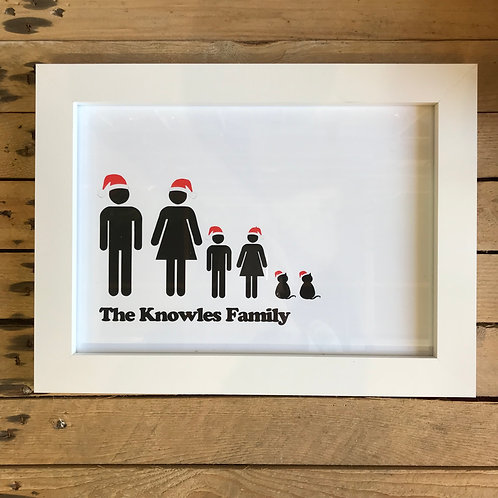 Personalised Christmas Family Portrait Print