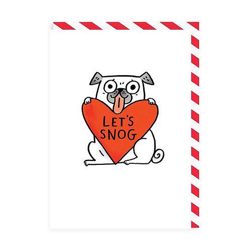 'let's snog' valentines card