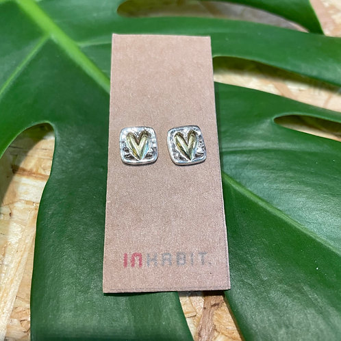 Sterling Silver and Gold Brass Heart Studs