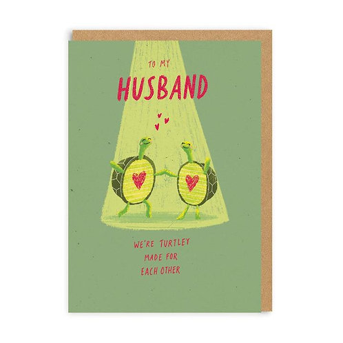 'husband - turtley made for each other' valentines card