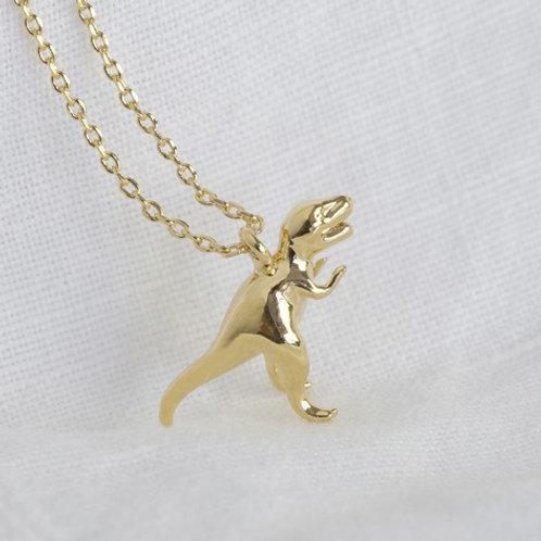 Gold T-Rex Dinosaur Necklace