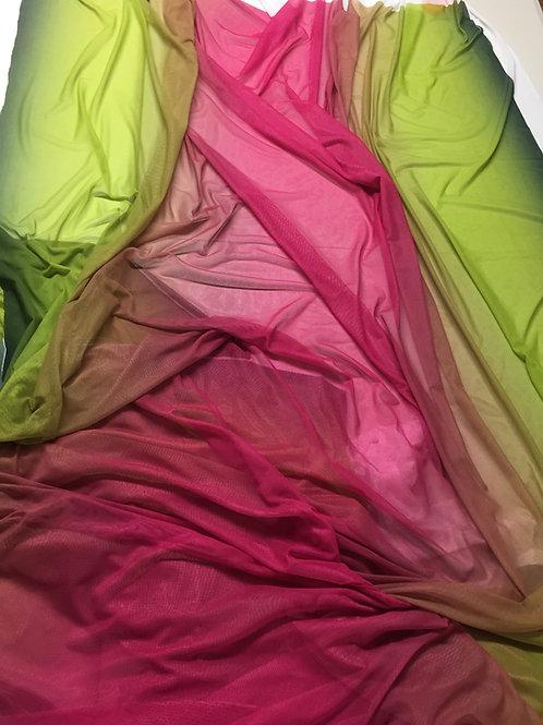 Tul elástico degradado verde-rosa-verde