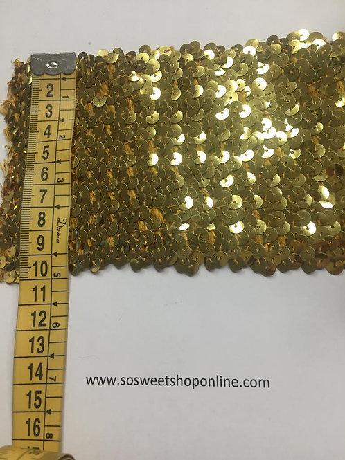 Lentejuelas dorada en tira elástica