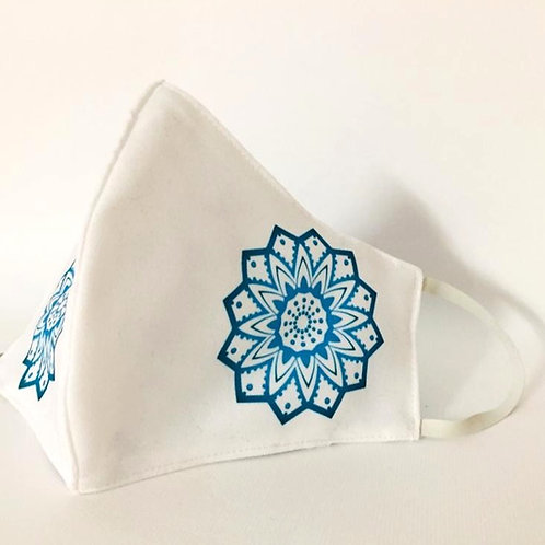 Mascarilla personalizable y lavable-Mandala azul