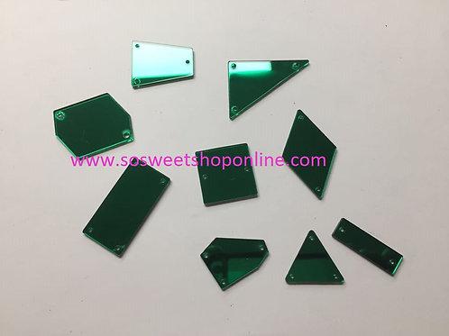 Cristales acrilicos de espejo verdes