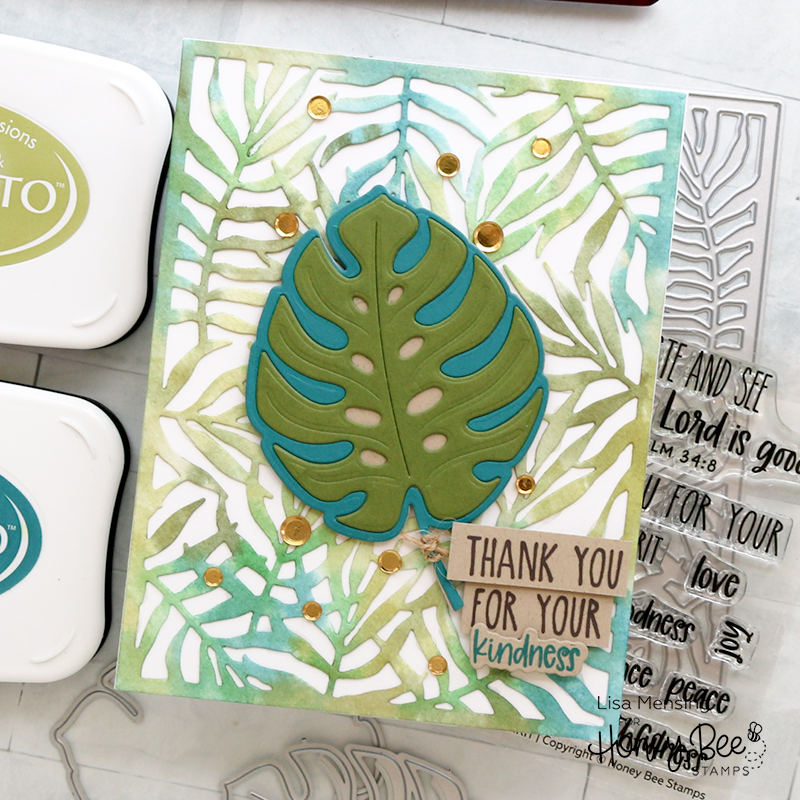 Handmade card with palm frond background and large die cut Monstera Leaf.