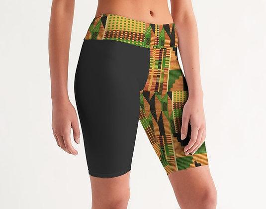 Kente Color Block Mid-Rise Biker Shorts