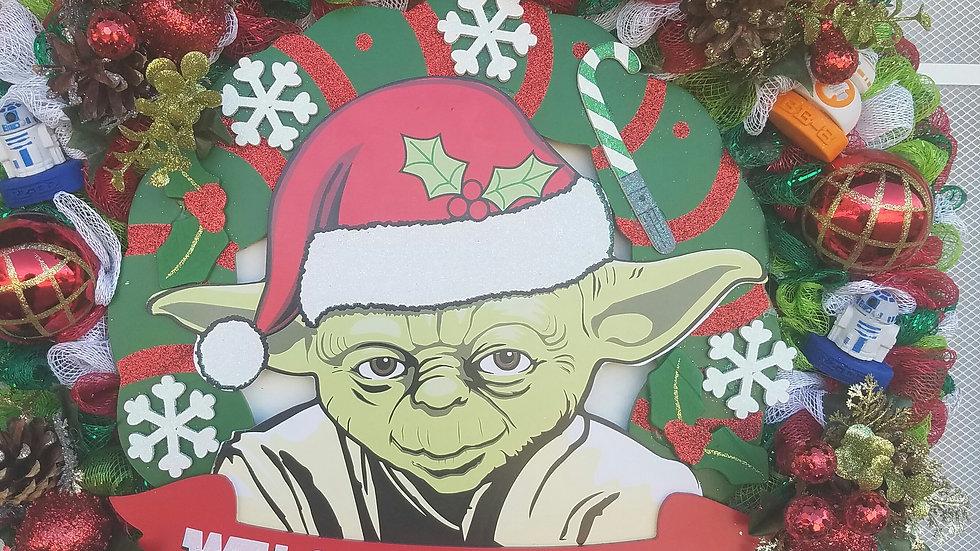 Custom Wreath - Yoda Style Christmas