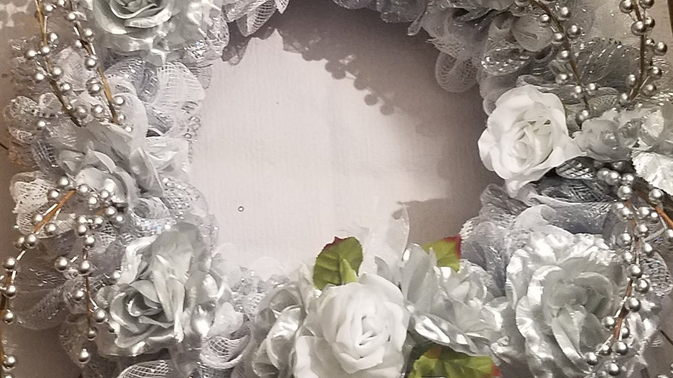 White & Silver Wedding or Winter Wreath