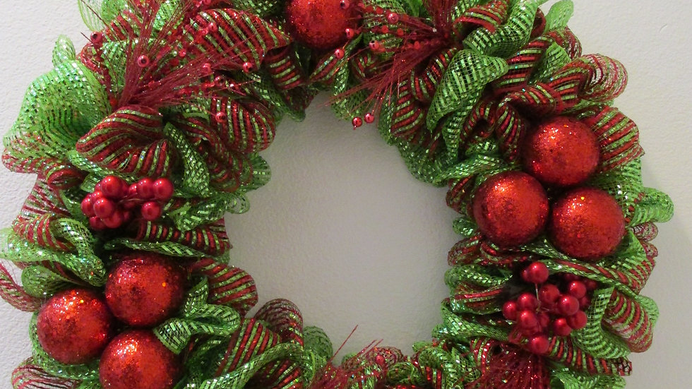 Red Balls and Bells Wreath