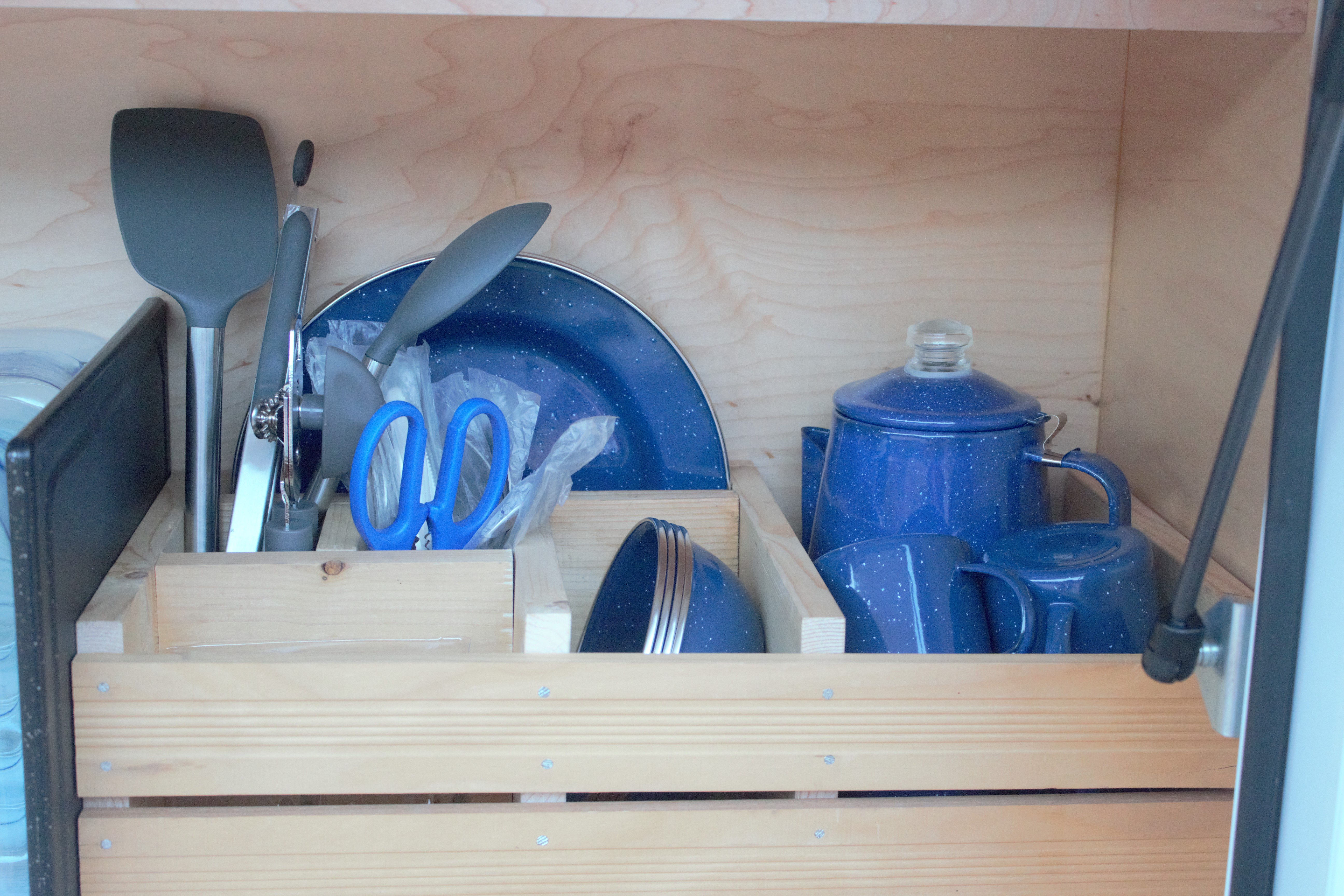 Plates, Flatwares, Coffee urn and cups, Cooking utensils