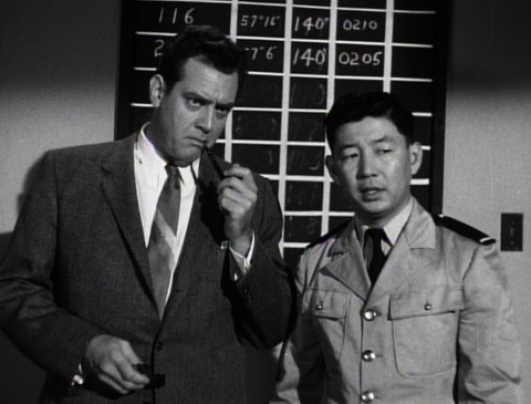 "Raymond Burr & Frank Iwanaga as Steve Martin and ""Security Officer"""