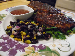 Cuban Ribs with Black Bean Salsa