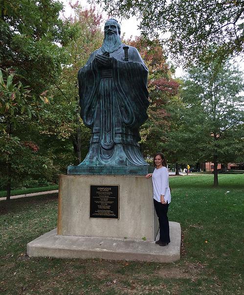 Monica, acupuncturist, with Confucius
