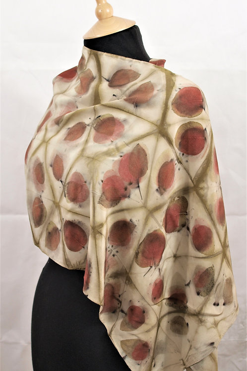 Large Crepe de Chine 12 silk shawl/scarf with eucalyptus SC35