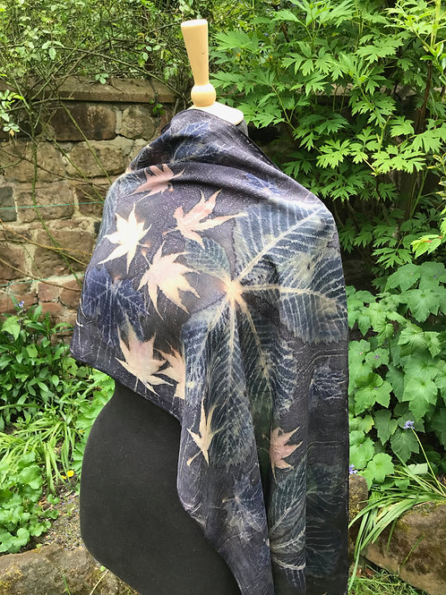 Crepe de Chine 8 shawl with horse chestnut and acer [2]