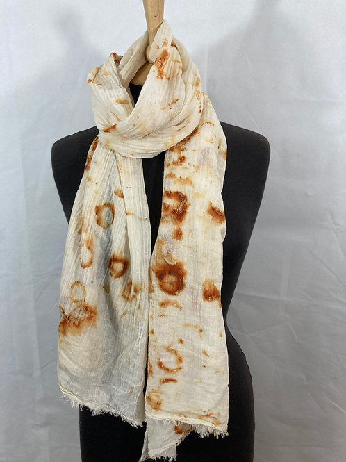 Rust printed hand woven cotton scarf/shawl SC05