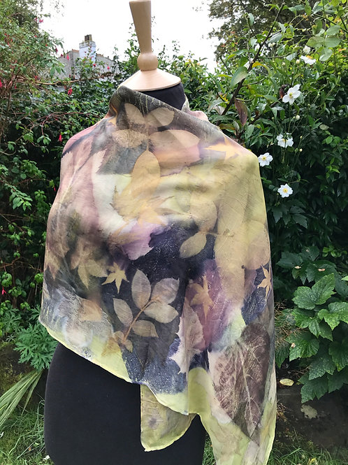 Crepe de Chine 8 silk shawl dyed with weld and logwood, printed with leaves