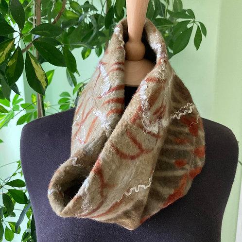 Nuno felted neck warmer, merino wool on silk, printed with eucalyptus [NW1]