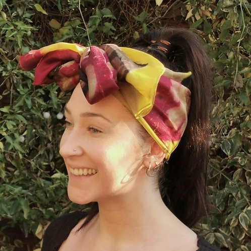 Silk scarf with three dyes and autumn leaves [SC69]