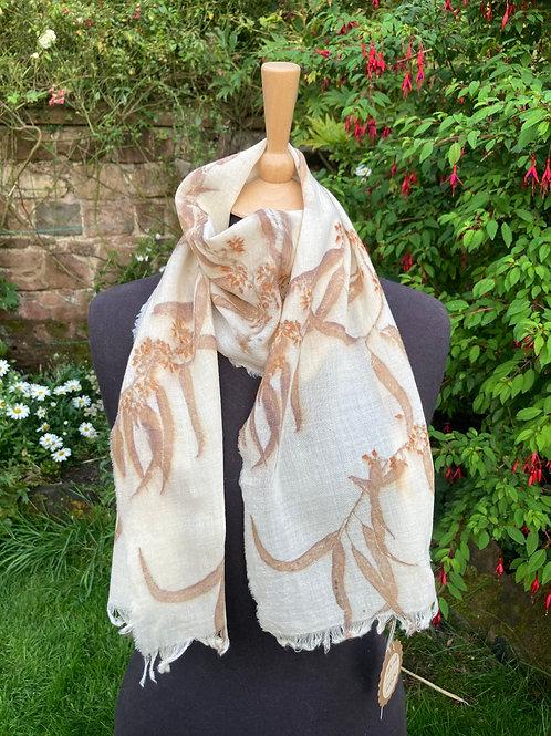 Fine wool etamine scarf printed with eucalyptus windfalls in Corfu SC18