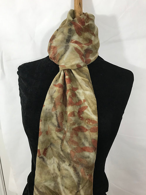 Fine wool etamine scarf printed with eucalyptus and chestnut catkins SC33
