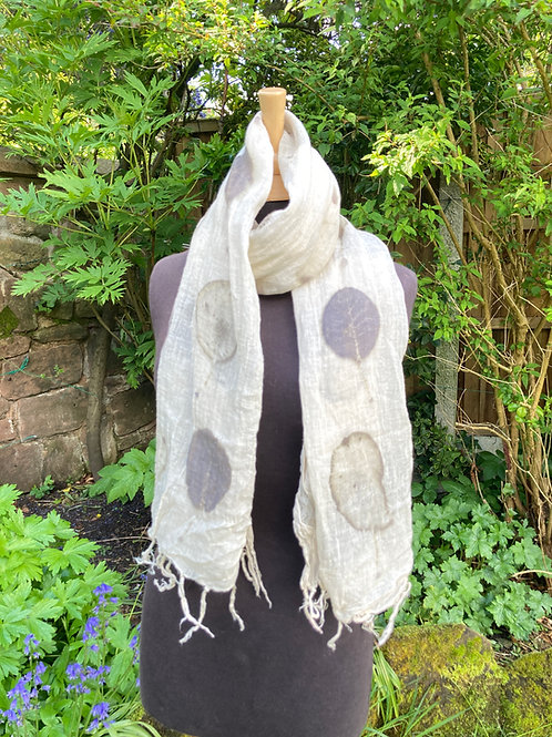 Hand woven linen shawl, printed with cotinus leaves [smokebush] [ SC82]