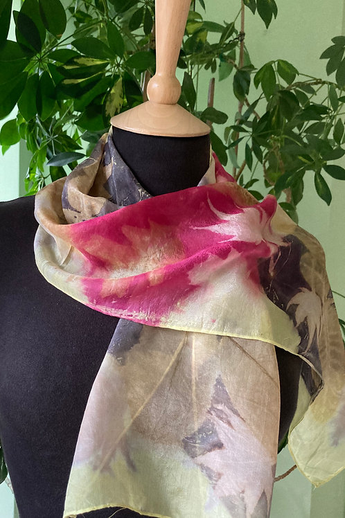 Silk scarf dyed with three dyes, printed with summer leaves SC19