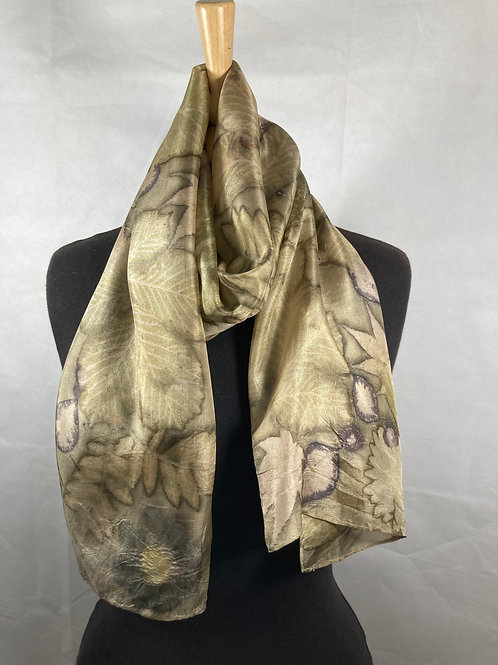 Ponge 5 silk scarf printed with horse chestnut, catalpa, acers & cosmos [SC60]