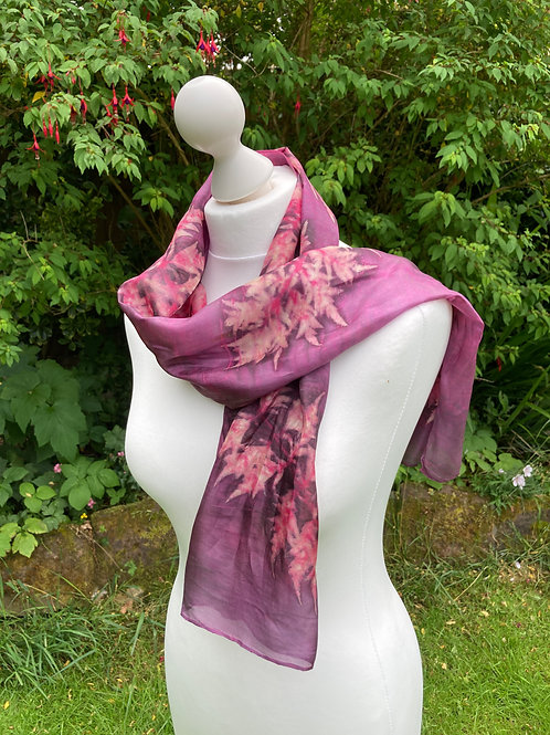 Silk Scarf with Light Cochineal and Sumac Leaves [SC88]