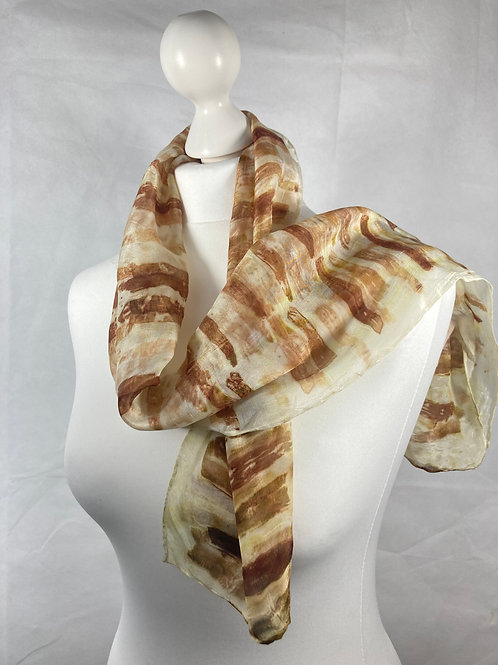 Silk scarf printed with red onion skin strips  [SC62]