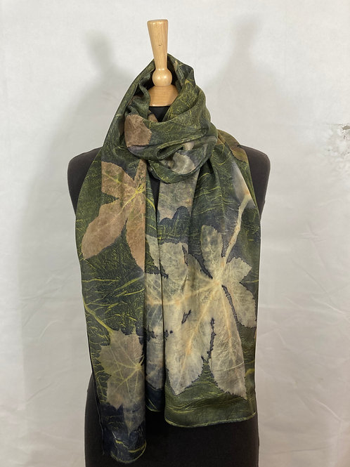 Large Crepe de Chine silk scarf with logwood, horse chestnut, liquid ambar SC11